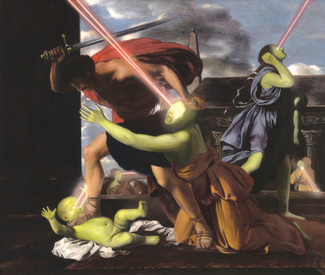 , 'Having Found the Lowest Threshold (St. George Slaying the Dragon) (after: Nicolas Poussin's Massacre of the Innocents, 1629),' 2013, Jonathan Ferrara Gallery