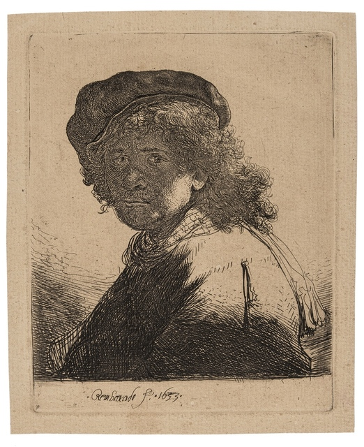 Rembrandt van Rijn, 'Self-Portrait in a Cap and Scarf with the Face dark', 1633, Forum Auctions