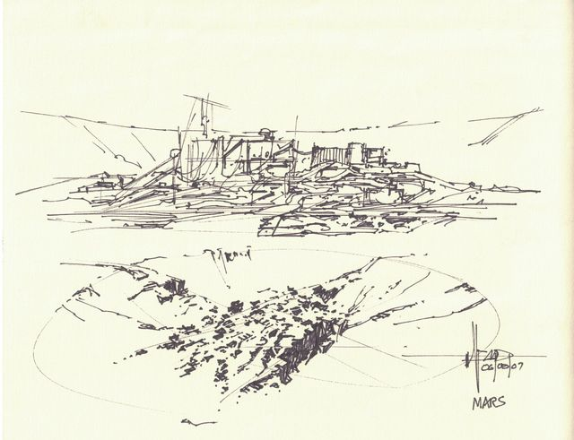 Syd Mead, 'Concept Sketch for Aliens Game, Mars Colony Concept Design Two Views', 2007, Edward Cella Art and Architecture