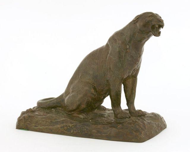 After Henri Jules Jean Geoffroy, 'A roaring leopard', Sworders