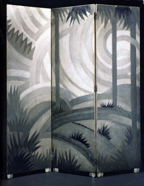 , 'Three-panel screen in torn lacquer in tones of gray and black,' ca. 1923, DeLorenzo Gallery