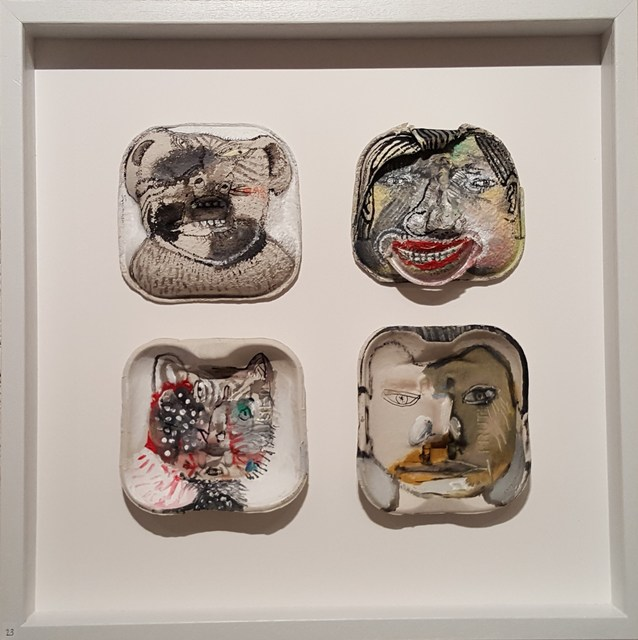 Sergio Moscona, 'Wolf man,Cat woman', 2017, Sculpture, Painting object with 4 painted sculptures in cardboard, Galerie Claire Corcia