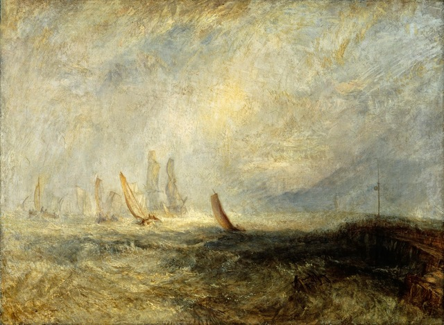 , 'Fishing Boats Bringing a Disabled Ship into Port Ruysdael,' 1844, de Young Museum
