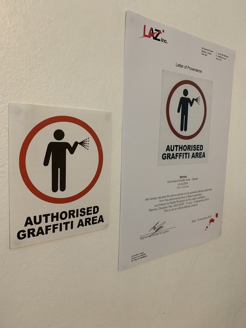 "Banksy, 'BANKSY ""AUTHORISED GRAFFITI AREA"" STICKER WITH COA', ca. 2004, Arts Limited"