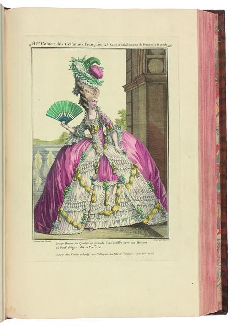 , 'Gallerie des Modes et Costumes français dessinés d'après nature, gravés par les plus célèbres Artistes en ce genre et colorés avec le plus grand soin par Madame Le Beau. Ouvrage commencé en l'année 1778. ,' 18th Century, Librairie Amélie Sourget