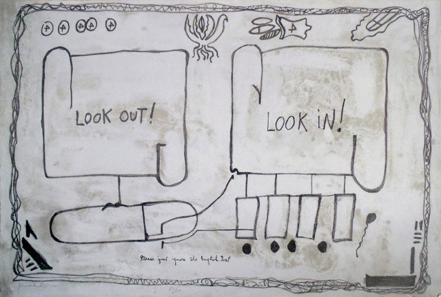 Jimmie Durham, 'Look Out, Look In', 1992, Print, Lithograph, Hamilton-Selway Fine Art Gallery Auction