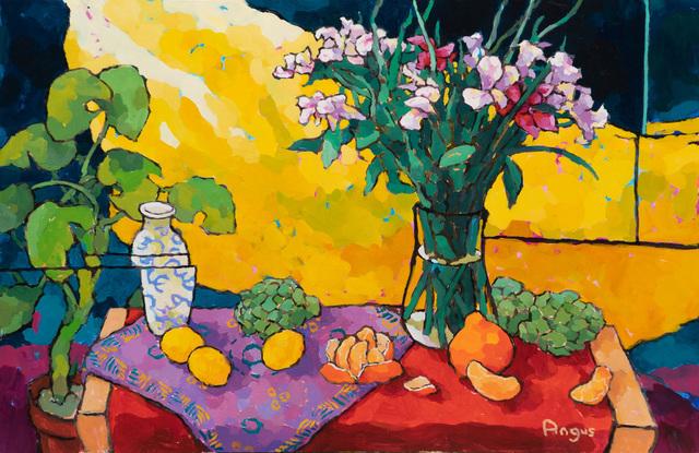 , 'Oranges and Artichoke Over Yellow,' 2019, Ventana Fine Art