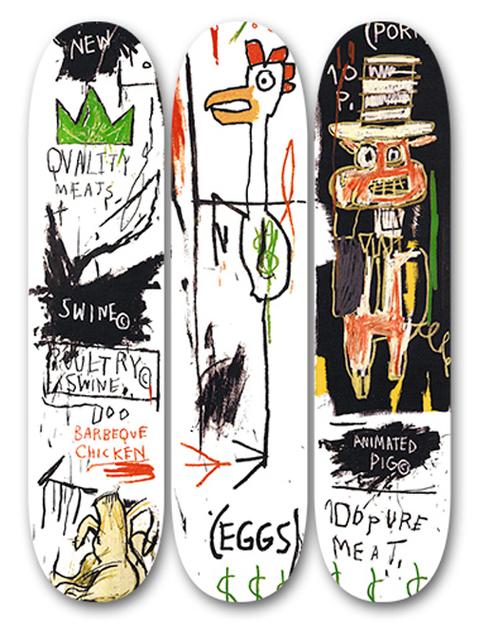 Jean-Michel Basquiat, 'Quality Meats for Public', 2014, Print, Screenprint on wood, EHC Fine Art