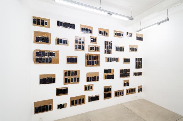 Pedro Victor Brandão, 'No Repair #2', 2018, Sculpture, Cardboard, masking tape, broken cell phone screens, Portas Vilaseca Galeria