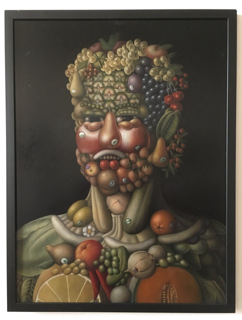 ", 'Tribute to Arcimboldo: ""Organic Fruit Head"",' , Front Room Gallery"