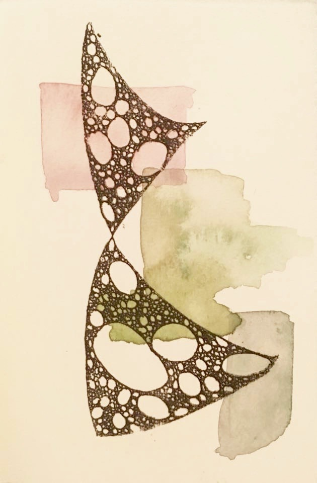 """""""A Subtle Turn"""" by Theresa Knopf, 2017, ink transfer and watercolor on paper, 5 x 7 in"""
