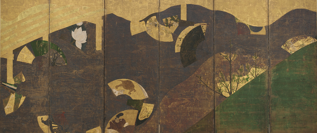 Tawaraya Sōtatsu, 'Ivy Vines, Bridges, and Floating Fans', 17th century, Painting, Color, gold, and silver on paper, Smithsonian Freer and Sackler Galleries