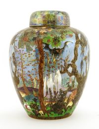 A Wedgwood Fairyland lustre 'Ghostly Wood' Malfrey vase and cover
