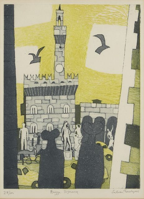 Julian Trevelyan, 'Piazza Signoria [Turner 180]', 1965-66, Print, Etching with aquatint in colours on wove, Roseberys