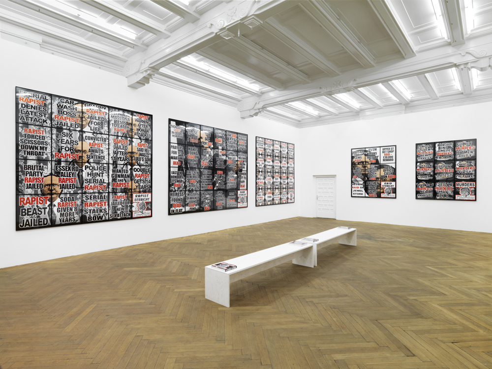 "Installation view. Gilbert & George ""London Pictures"", ARNDT, Berlin, Germany. March 22 - May 30, 2012. Photo: Bernd Borchardt"