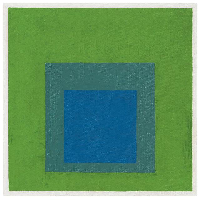 , 'Squares: Blue and Cobalt Green in Cadmium Green,' 1958, Ludorff