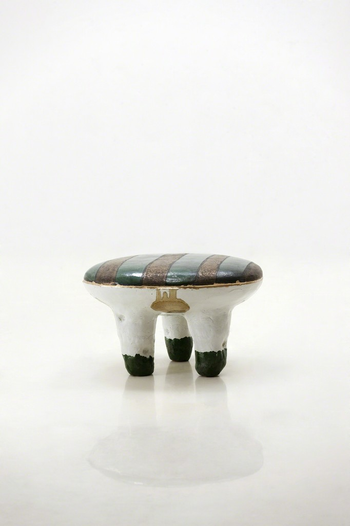 Glazed Ceramic Stool With Gold Leaf