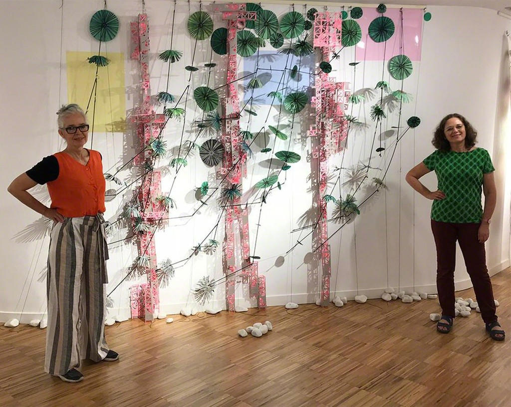 Libby Hague and Yael Brotman with their installation Pink City Green Branches, Santander, Spain as part of the Special Exhibition Projects for Impact 10