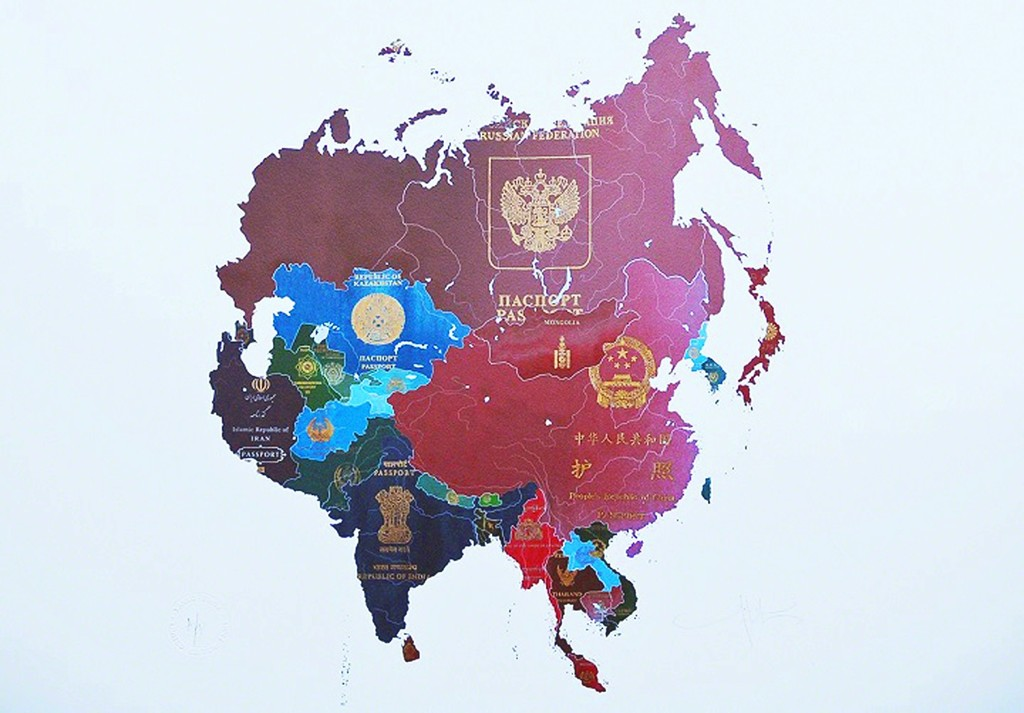 Yanko tihov passport map asia available for sale artsy yanko tihov passport map asia london contemporary art store street gumiabroncs Images