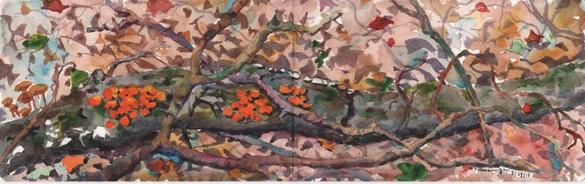 , 'Autumn Ferns with Red and Yellow Mushrooms,' 2018, Galatea Fine Art