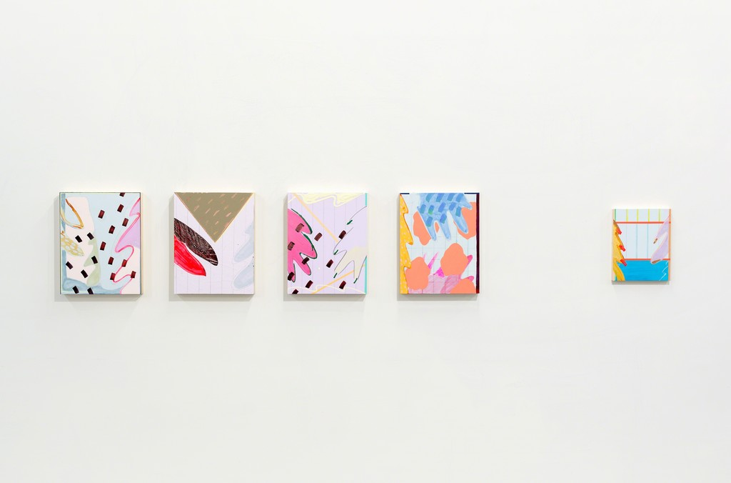 Five paintings by Jessica Simorte.