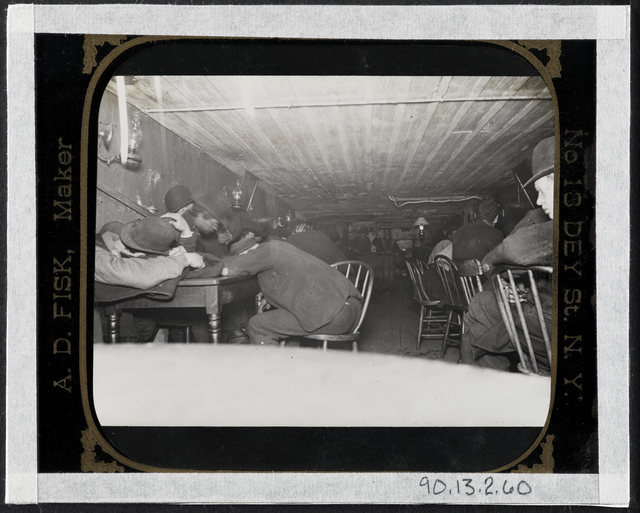 Jacob A. Riis, 'Bandit's Roost -- In a stale beer dive in cellar -- flashlight at 3 a.m.', ca. 1890, Museum of the City of New York