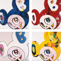 Takashi Murakami, 'And Then x 6 (Blue: The Superflat Method); And Then x 6 (Red: The Superflat Method); And Then x 6 (White: The Superflat Method, Pink and Blue Ears); and And Then, And Then And Then And Then And Then. Yellow Universe,' 2013, Phillips: Evening and Day Editions