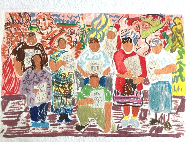 Aliza Nisenbaum, 'Study for Wise Elders Portraiture Class at Centro Tyrone Guzman with En Familia hay Fuerza, mural on the history of immigrant farm labor to the United States', 2017, The Kitchen