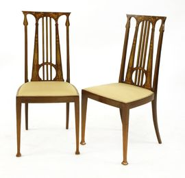 A pair of Art Nouveau mahogany inlaid hall chairs