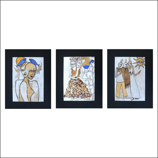 Geneviève Lahens Esper dite Iris, 'Encounters', 2020, Painting, Acrylic and ink on paper, Galerie Lakaye