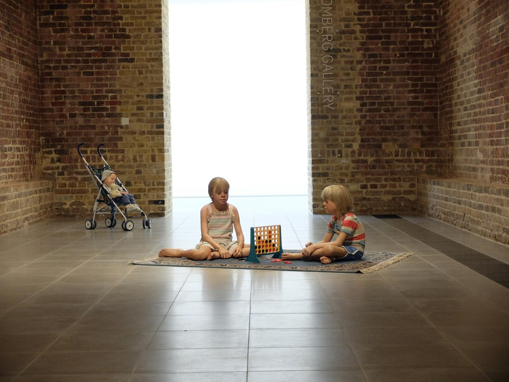 "Duane Hanson, ""Children Playing Game"" (1979) and ""Baby in Stroller"" (1995). Serpentine Sackler Gallery. Courtesy © John Offenbach."