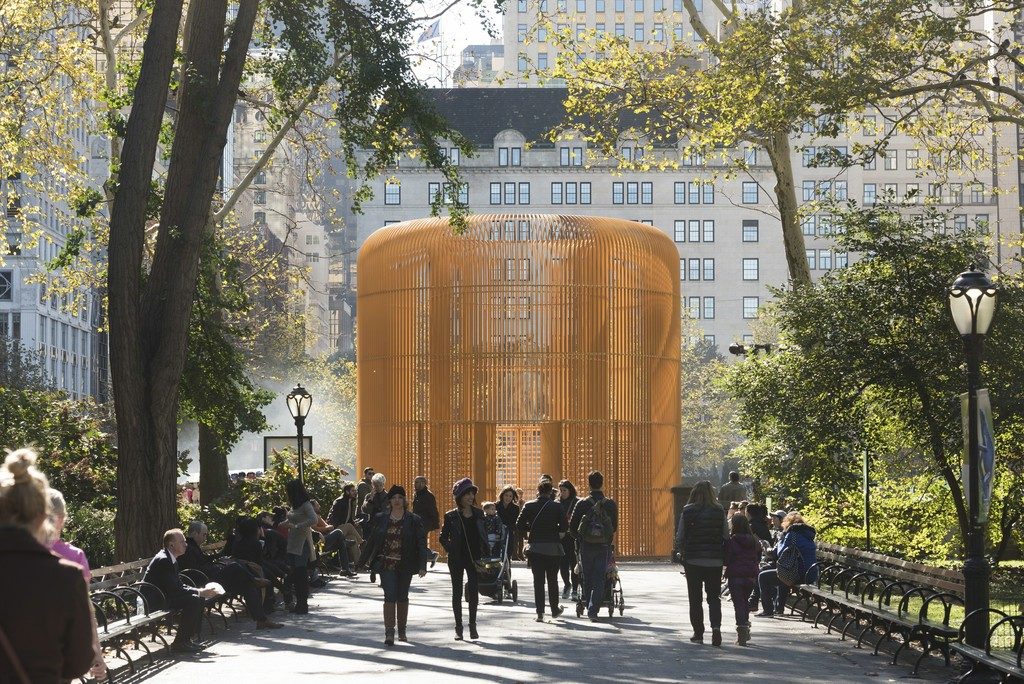 Ai Weiwei Gilded Cage, 2017 Mild steel, paint Courtesy of Ai Weiwei Studio/ Frahm & Frahm Photo: Timothy Schenck, Courtesy Public Art Fund, NY On view as part of the citywide exhibition Good Fences Make Good Neighbors, presented by Public Art Fund October 12, 2017-February 11, 2018