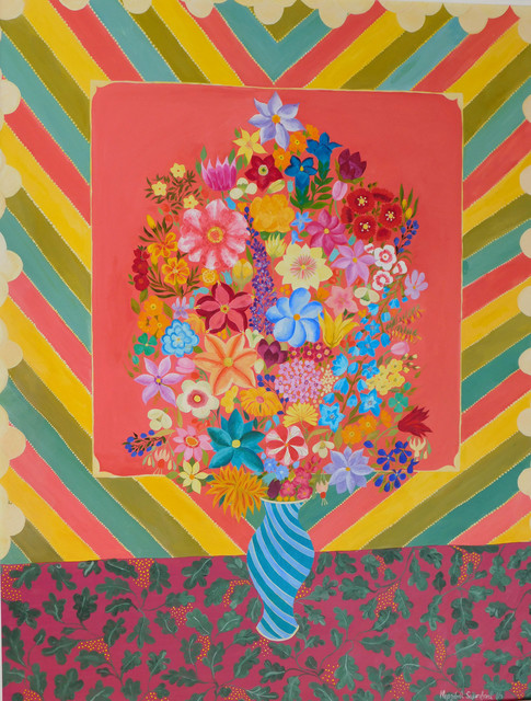 , 'Flowers with Stripes,' 2016, Rebecca Hossack Art Gallery