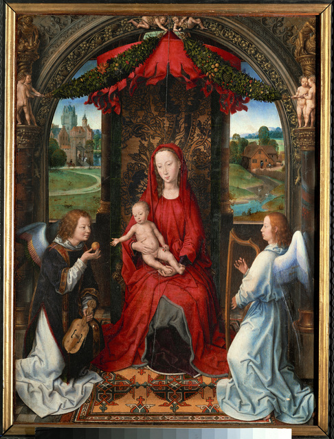 Hans Memling, 'Madonna and child, angel with violin in his hand; landscape with farmhouse and castle', ca. 1480, Painting, Tempera on oak wood, Erich Lessing Culture and Fine Arts Archive