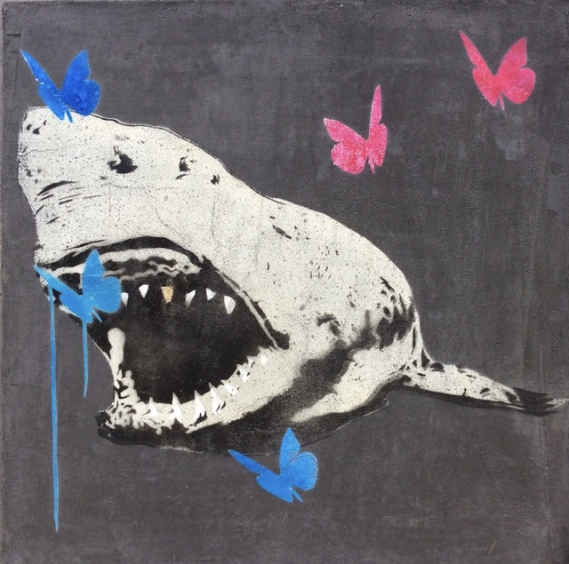 , 'Gold Tooth Shark with Blue and Pink Butterflies,' 2018, Joseph Fine Art LONDON