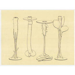 Drawings for four candleholder designs for Swid Powell, Rochester, NY