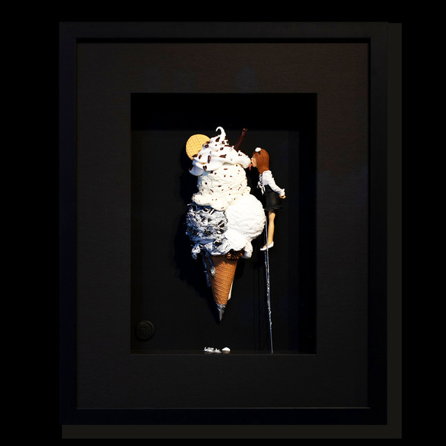 Kunst met een R, 'Best ice cream in the world - black ', 2020, Installation, 3D Shadow Box, Eden Fine Art