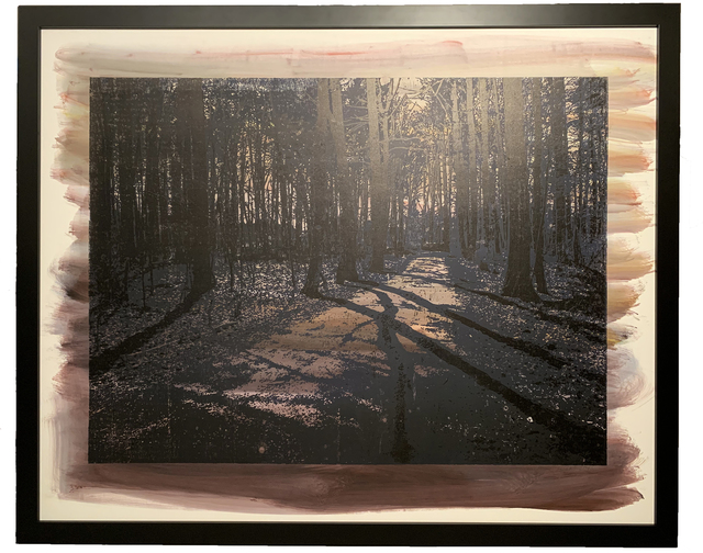Natanel Gluska, 'Forest in Purple', 2016, Drawing, Collage or other Work on Paper, Wooden engraved panel - Etched and hand printed - Framed, Ronen Art Gallery