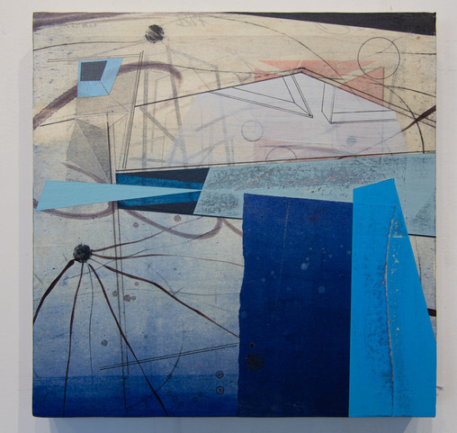 David Collins, 'Scaffold 2', 2021, Painting, Acrylic and oil on paper mounted on panel, Susan Eley Fine Art