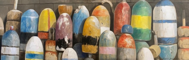 ", '""Gold and Blues"" Photorealistic oil painting of multi-colored buoys,' 2019, Eisenhauer Gallery"