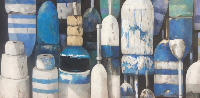 """, '""""Band of Blues"""" Large scale oil painting of Blue, Turquoise, Black and White Bouys on linen,' 2017, Eisenhauer Gallery"""