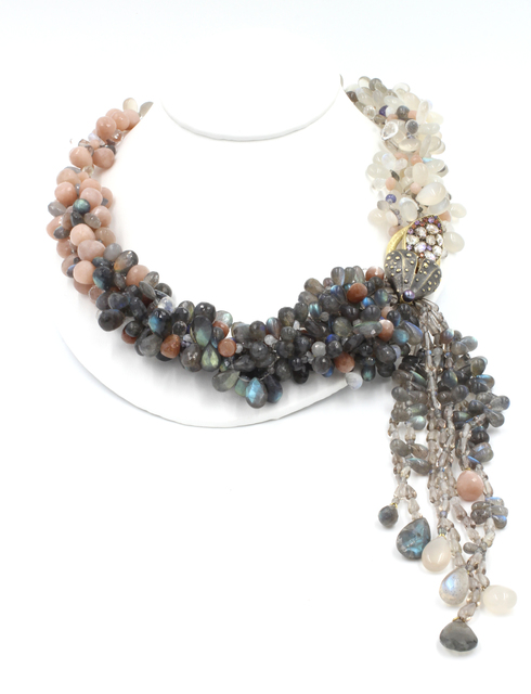 , 'Labradorite Moonstone Sunstone Tanzanite Crystal Quartz Diamond Gold Necklace,' , form & concept