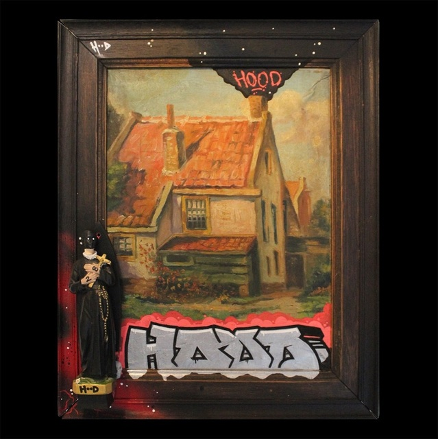 HoodKitsch, 'St. Hood', 2020, Painting, Marker on reclaimed oil painting and sculpture, Kalkman Gallery