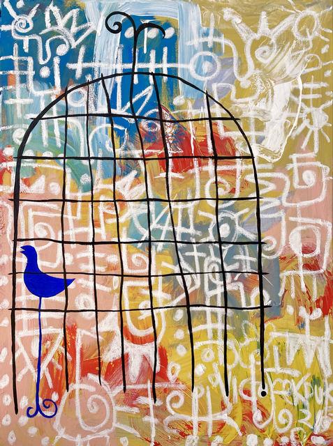 Victor Ekpuk, 'Blue Bird', 2021, Painting, Acrylic on canvas, Morton Fine Art