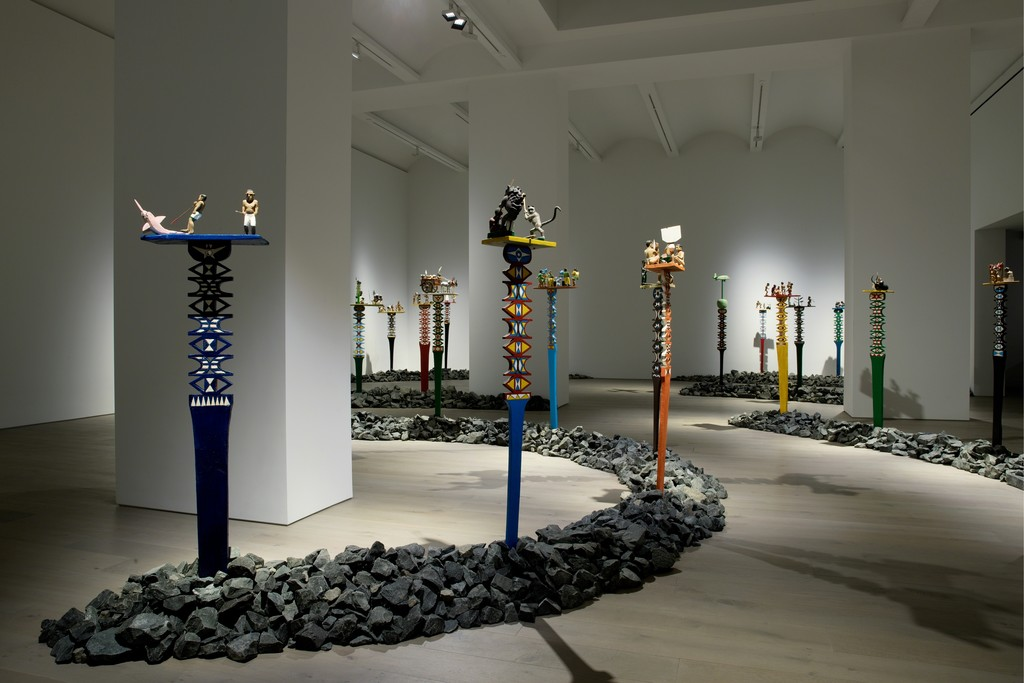 View of the exhibition Aloalo, Mahafaly Sculptures of the Efiaimbelos, Perrotin New York (June 28 - August 17, 2018)© Photo: Guillaume Ziccarelli. Courtesy of the artist & Perrotin