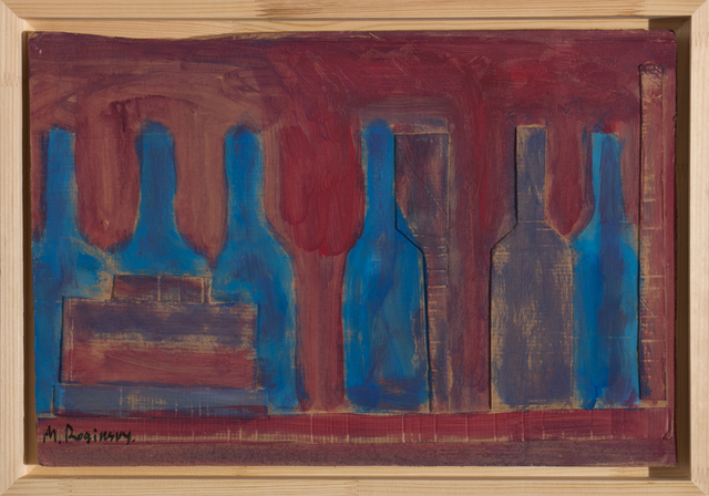 , 'Blue bottles and books on red background,' 1978, Art4.ru