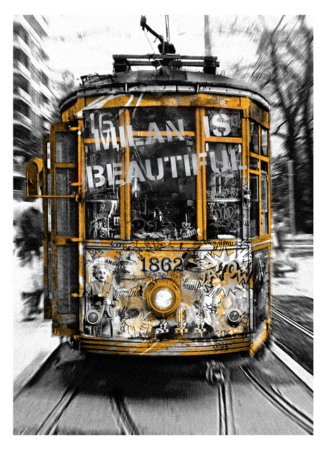 Mr. Brainwash, 'Milan is Beautiful - Tram Silver', 2019, Print, Retouchè on paper, Deodato Arte