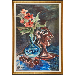 Untitled (Still Life with Head and Flowers)