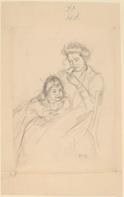 Mary Cassatt, 'Margot Leaning against Reine's Knee', ca. 1902, National Gallery of Art, Washington, D.C.