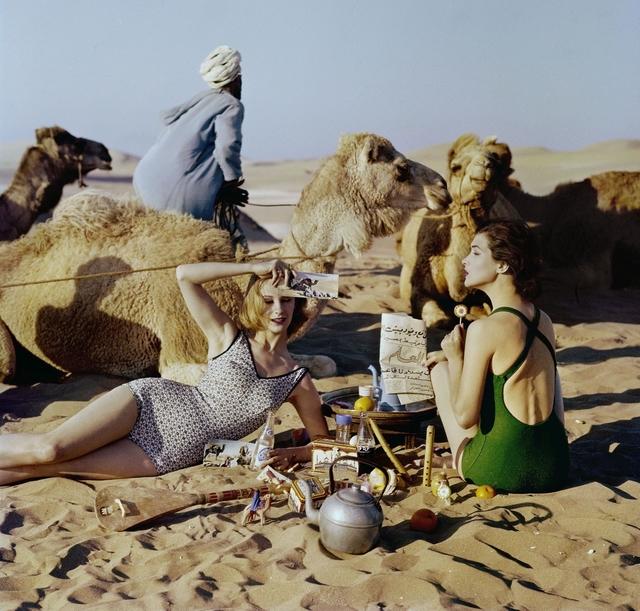 , 'Tatiana + Marie Rose + Picnic + Camels, Morocco,' 1958, Howard Greenberg Gallery
